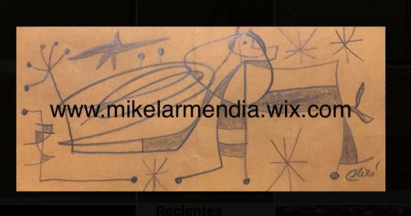 Non Tecnico Miró - Personnage dans un paysage