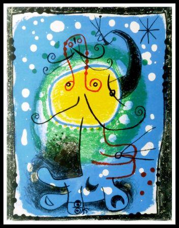 Litografia Miró - PERSONNAGE SUR FOND BLEU