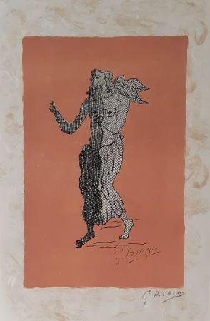 Litografia Braque - Personnage sur fond rose