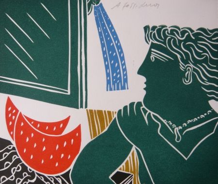 Linoincisione Fassianos - PERSONNAGE VERT