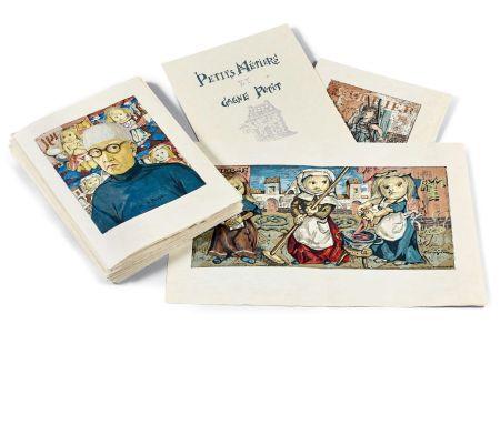 Libro Illustrato Foujita - PETITS MÉTIERS ET GAGNE-PETIT. Avec suite couleurs et soie signée (1960)