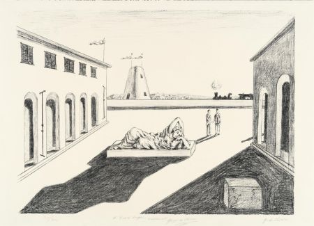Litografia De Chirico - Piazza d'Italia
