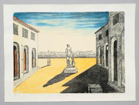 Litografia De Chirico - Piazza d'Italia con efebo