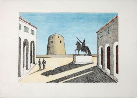 Litografia De Chirico - Piazza d'Italia con statua equestre