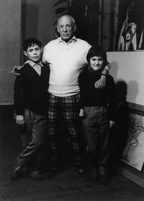 Fotografie Clergue - Picasso Avec Claude Et Paloma