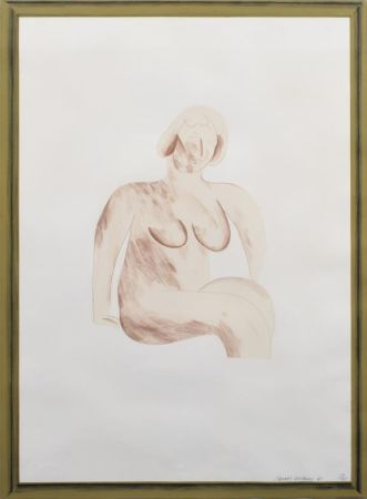Litografia Hockney -  Picture of a Simple Framed Traditional Nude Drawing