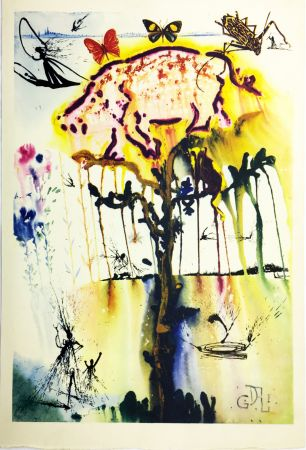 Rotocalcografia Dali - PIG AND PEPPER TREE (From Alice in Wonderland. New-Yok 1969).