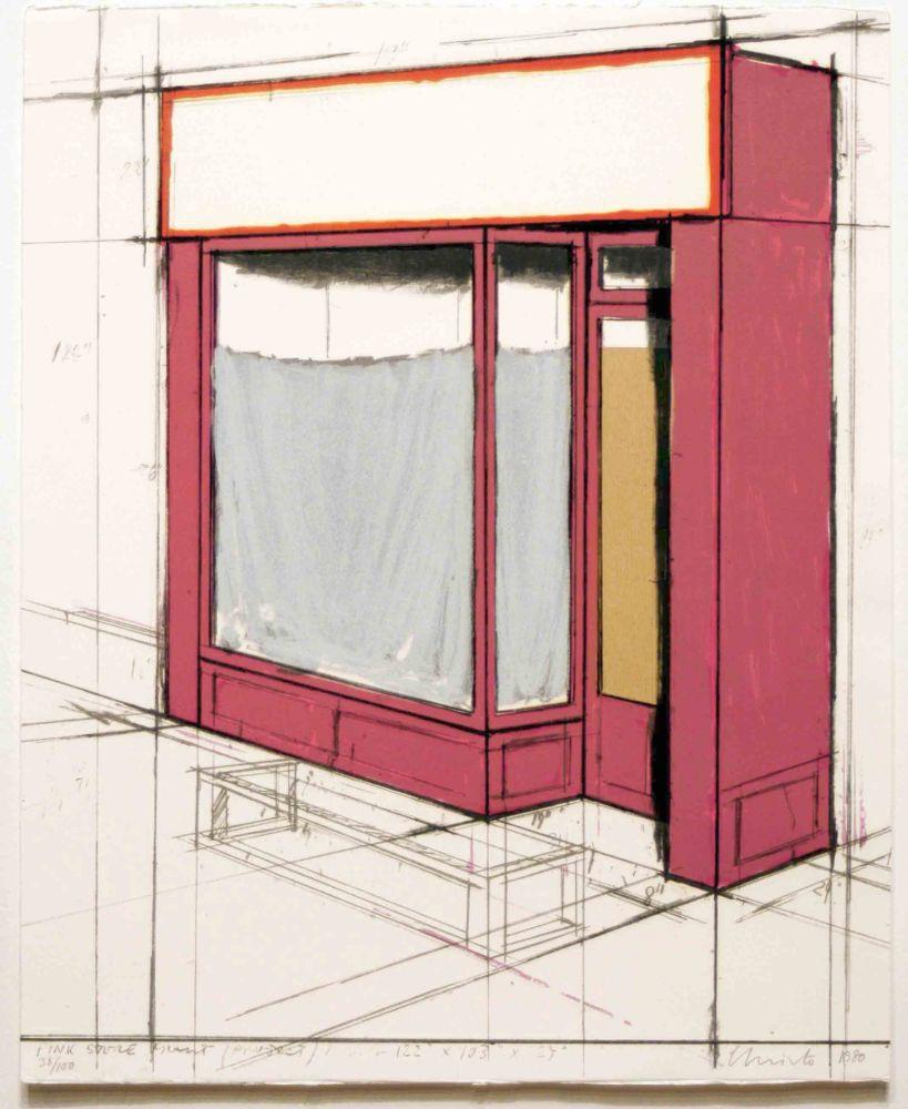 Litografia Christo - Pink Store Front, Project from Marginalia