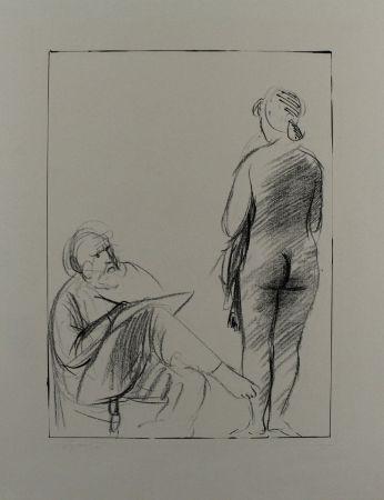 Litografia Manzu - Pittore e modella