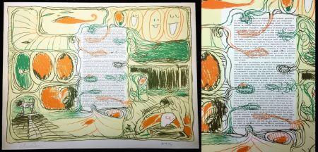 Litografia Alechinsky - Placard pour Claude Simon (1974).