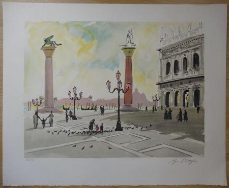 Litografia Brayer - Place Saint Marc à Venise