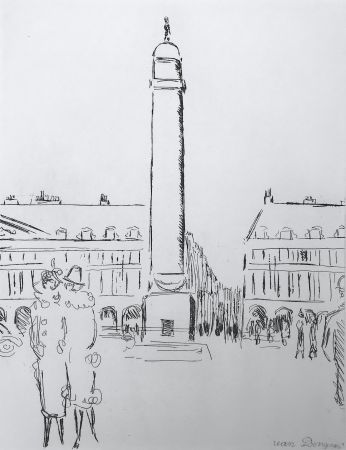 Incisione Van Dongen - Place Vendome
