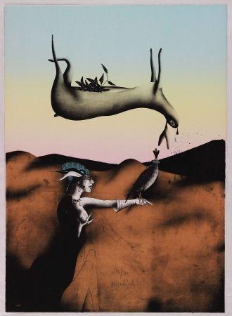 Litografia Wunderlich - Poésie de la chasse italienne