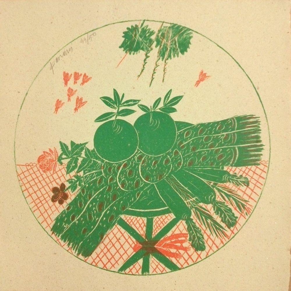 Litografia Fassianos - Pommes et foulard