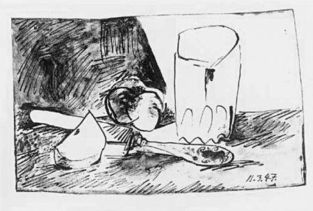 Litografia Picasso - Pommes, Verres et Couteau