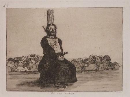 Incisione Goya - POR UNA NAVAJA