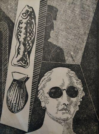 Incisione Su Legno De Chirico - Portrait d'Apollinaire