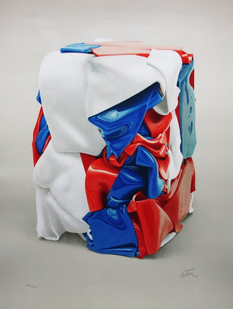 Litografia Cesar - Portrait de compression bleu-blanc-rouge