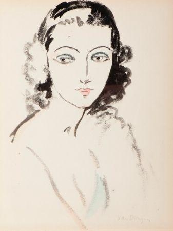 Pochoir Van Dongen - Portrait  De Femme