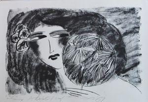 Litografia Ting - Portrait De Femme