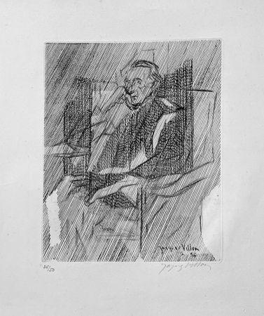 Incisione Villon - Portrait de Marcel Duchamps