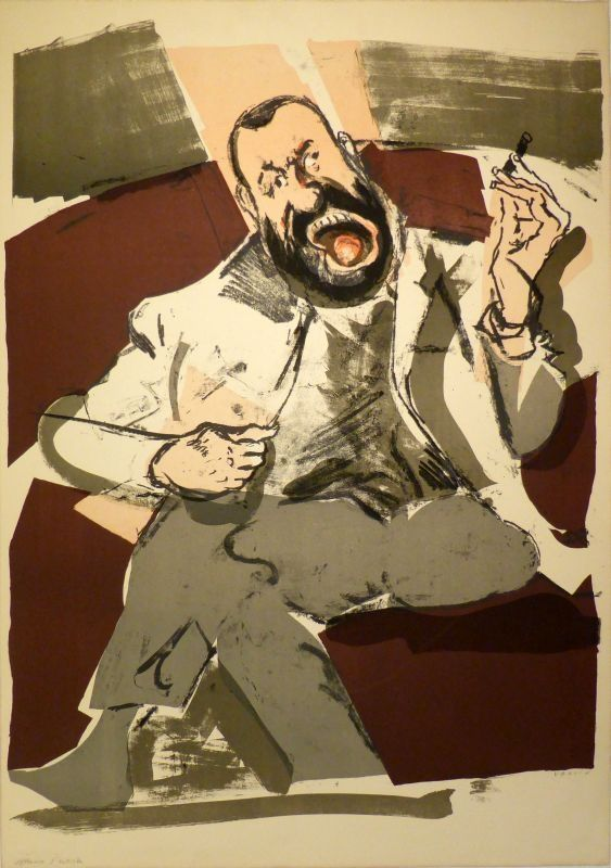 Litografia Varlin (Guggenheim, Willy) - Portrait des Photographen Ernst Scheidegger