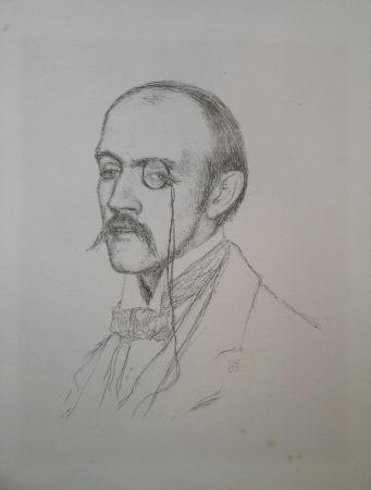 "Litografia Rysselberghe - Portrait ""Henri de Regnier"""