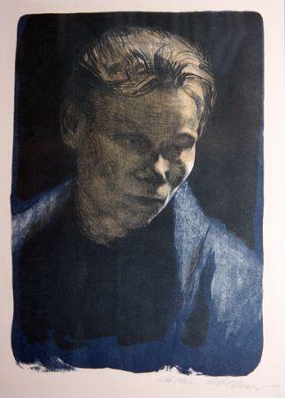 Litografia Kollwitz - Portrait of working class woman with blue towel