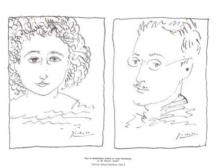 Litografia Picasso - Pour La Rehabilitation de Ethel et Julius Rosenberg  et de Morton Sobel