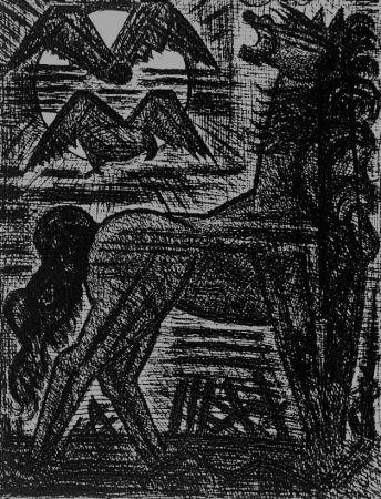 Acquaforte Gromaire - Présage, cheval noir, et oiseaux de nuit