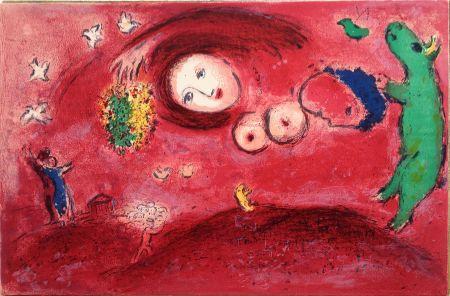 Litografia Chagall - PRINTEMPS AU PRÉ (de la suite Daphnis & Chloé - 1961)