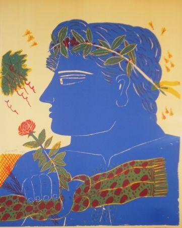 Litografia Fassianos - Profil bleu à la rose