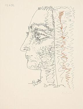 Litografia Picasso - Profil en trois couleurs