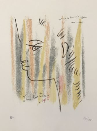 Litografia Cocteau - Profile in Yellow, Pink, and Green