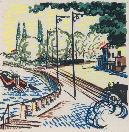 Libro Illustrato Laboureur - Promenade avec Gabrielle. Texte et images lithographiés en couleurs par Jean Giraudoux et Jean-Emile Laboureur.