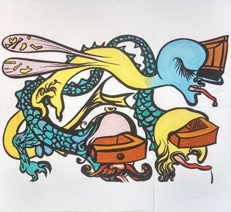 Litografia Dali - PUZZLE OF LIFE (IDRA A TRE TESTE)