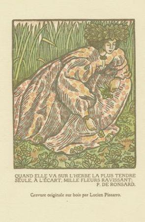 Incisione Su Legno Pissarro - Quand elle va sur l'herbe... / Girl Picking Flowers