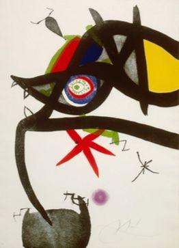 Acquaforte E Acquatinta Miró - Quatre Colors Aparien El Món, Plate Iv