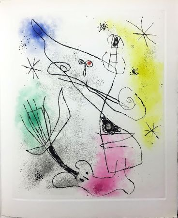 Libro Illustrato Miró - R. Crevel : FEUILLES ÉPARSES (Avec 14 gravures de Arp, Giacometti, Ernst, Man Ray, Masson, etc.) 1965.