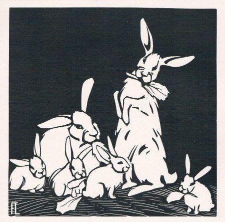 Incisione Su Legno Lang - Rabbits