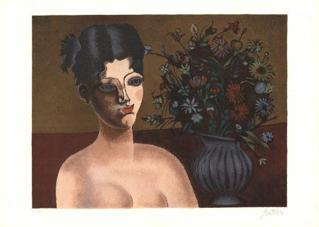 Litografia Gentilini - Ragazza con vaso di fiori