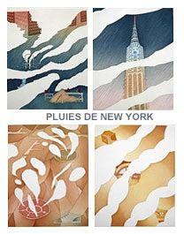 Acquaforte E Acquatinta Folon - Rains of New York - Pluies de New York (complet suite)