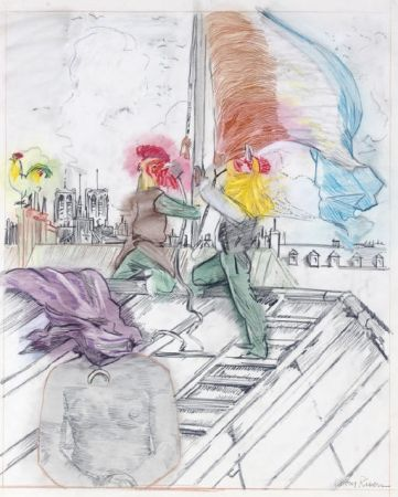 Litografia Rivers - Raising the Flag