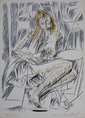 Litografia Fazzini - Reading Nude