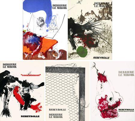 Libro Illustrato Rebeyrolle - REBEYROLLE : Collection complète des 5 volumes de la revue DERRIÈRE LE MIROIR consacrés à Paul Rebeyrolle (parus de 1967 à 1976). 32 LITHOGRAPHIES ORIGINALES.