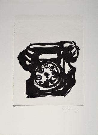 Linoincisione Kentridge - Rebus Telephone