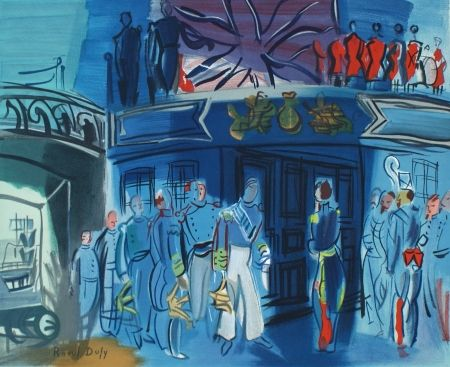 Litografia Dufy - Reception d'in amiral Anglais sur un bateua Francais