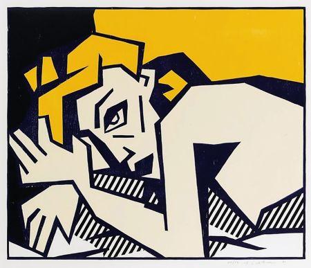 Incisione Su Legno Lichtenstein - Reclining Nude