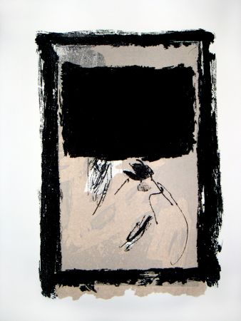Incisione Tapies - Rectangle Noir Et Collage