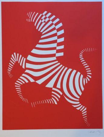 Serigrafia Vasarely - Red zebra